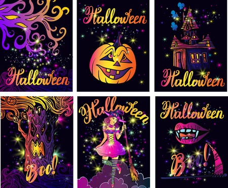 Beautiful big Halloween set. Cool line art magic template invitation card with lettering. Vampire lips. Magic dust and sparkles,Sexy witch with a broom,pumpkin,evil tree,Mysterious Castle. Illustration