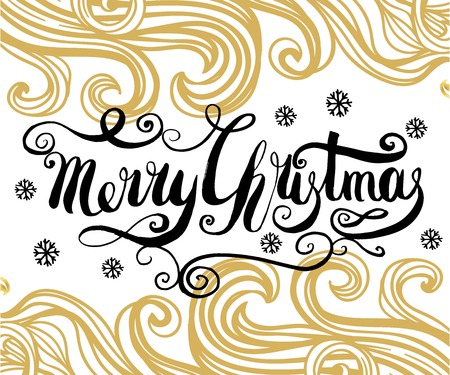 Merry Christmas handcrafted lettering on the line art background