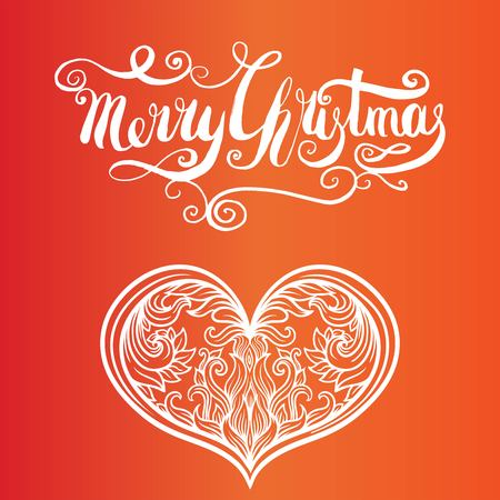 Red Christmas background with filigree beautiful ornate snowflake. Merry christmas handcrafted lettering