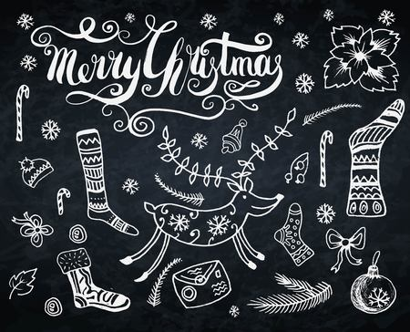 Merry Christmas doodle set with deer,socks,letter, hat, Christmas tree, branch. Handcrafted lettering logo
