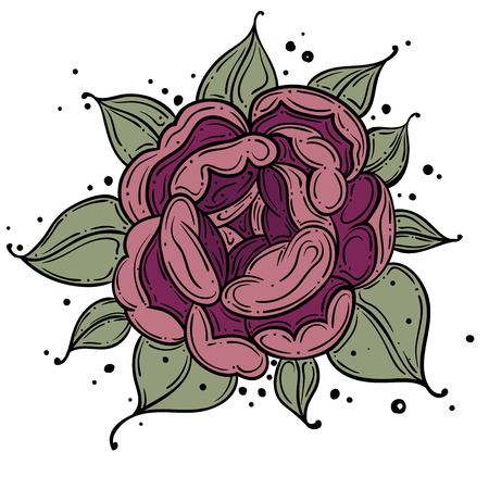 Tattoo Rose Pion flower.Tattoo, mystic symbol. Boho print, poster, t-shirt. textiles. Vector illustration art. Vintage engraving. Vintage style. Traditional art tattoos. Blackwork. Isolated vector