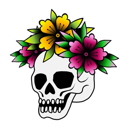 Princess emblem of a skull in a crown surrounded by roses.tattoo, isolated on a white background. Sketch of traditional old school.best print back to school stickers.Day of dead vector illustration