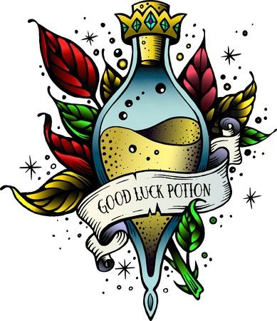 Potion de sorcière et de flacon magique avec couronne, branches avec feuilles, ruban décoratif pour votre inscription. Illustration vectorielle. Potion d'art en ligne de bonne chance. Croquis de tatouage de bonne chance vintage oldschool newschool. Vecteurs