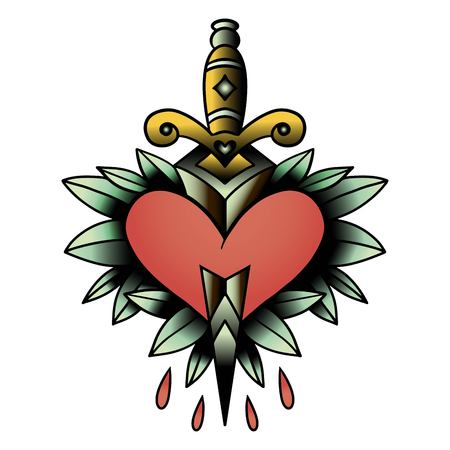 Old school style tattoo dagger through a heart with green leaves in the background. Editable vector illustration.