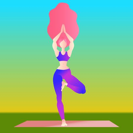 Woman long hair practice yoga tree pose. Sporty girl with long hair isolated on white yoga exercise pose. Flat character design. Indigo fashion colors. Vector illustration Ilustração