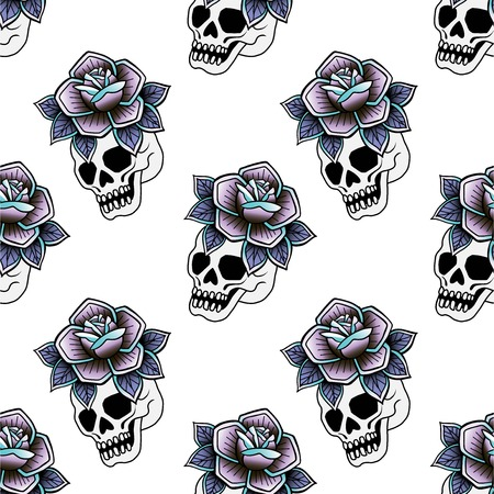 Old school retro vintage doodle tattoo seamless pattern.Rose, skull, knife,continuous openwork emblems symbols.Vector line art oldschool tattoo illustration. Best for printing wrapping paper