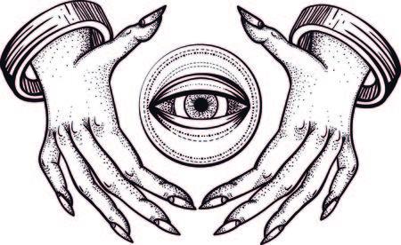 Des mains de sorcières avec un troisième œil voyant. Conception de tatouage dotwork. Croquis d'art en ligne Vector.intage