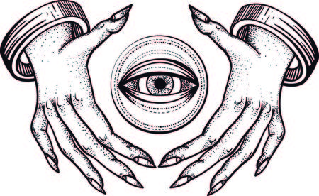 Witch hands with all seeing third eye. Dotwork tattoo design. Vector.intage line art sketches