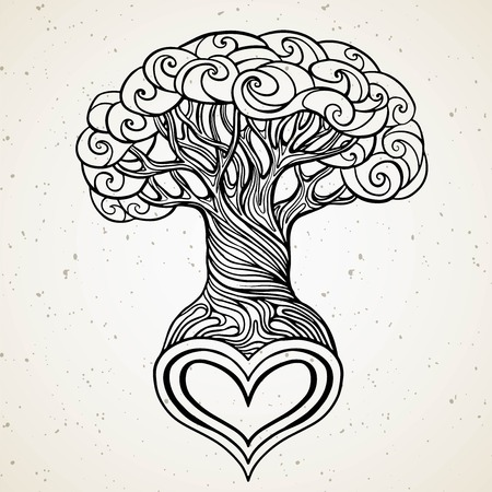 vector beautiful tree with the heart shaped root isolated white background. hand drawn vintage style. Line art tattoo