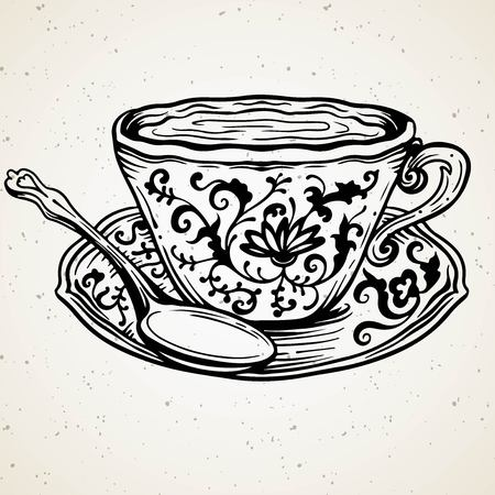 Tea cup with spoon and floral ornament,vector illustration. Ornate vintage line art drawing. Vector clipart. Engraving art