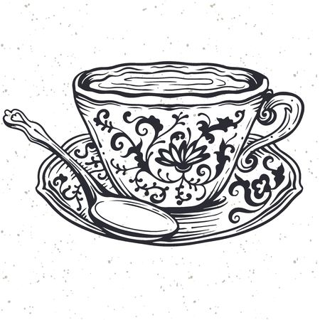 Tazza da tè con cucchiaio e ornamento floreale, illustrazione vettoriale. Disegno di arte di linea vintage ornato. ClipArt vettoriali. Arte dell'incisione