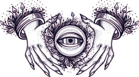 Des mains de sorcière avec un troisième œil voyant. Conception de tatouage dotwork. Vecteur