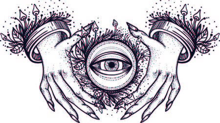 Witch hands with all seeing third eye. Dotwork tattoo design. Vector Çizim