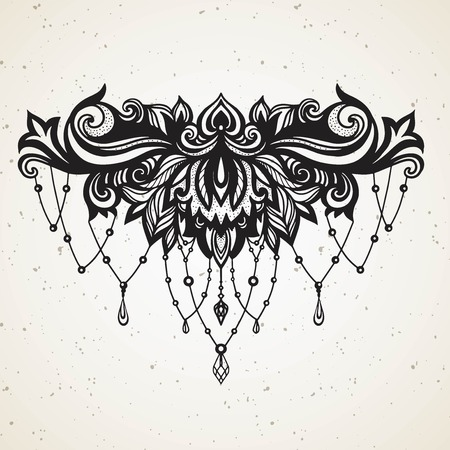 Rich womens tattoo with jewelry and barocco decorativ floral element. Abstract in Boho Ethnic style with Gems for tattoo on sternum black on white for decoration T shirt dress.