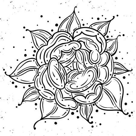 Tattoo Dog Rose Pion flower.Tattoo, mystic symbol. Boho print.Vector illustration art. Vintage engraving. Vintage style. Traditional art tattoos. Blackwork. Isolated vector Иллюстрация