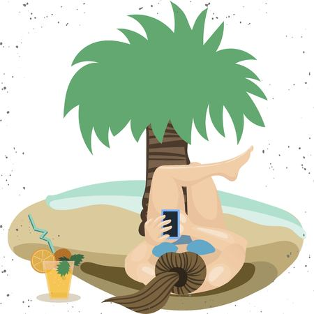 Young woman chilling on the beach near the palm tree with orange juice. Uses a smartphone. Girl relaxing at the seaside resort. Flat Character Vector Illustration Иллюстрация
