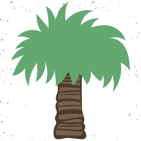 Palm tree icon. Flat illustration of palm tree vector icon isolated on white background with vintage texture.