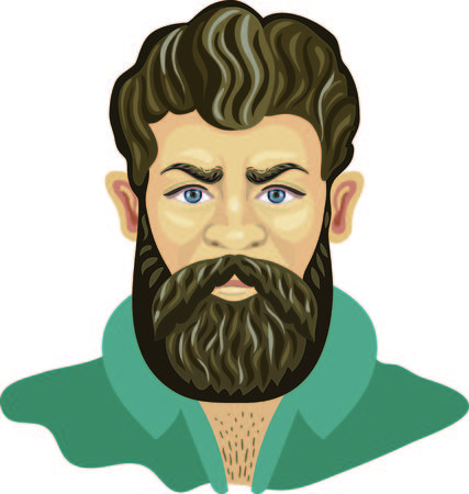 Man hair and beards style. Hipster fashion high detailed vector illustration. Barber shop gentleman, lumberjack in an unbuttoned shirt Illustration