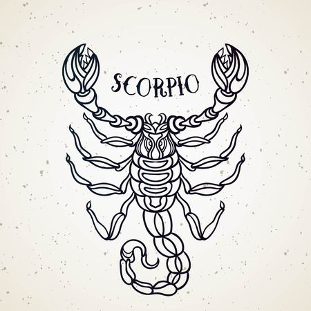 Beautiful line art filigree zodiac symbol. Black sign on vintage background. Vector clipart.Elegant jewelry tattoo. Scorpio
