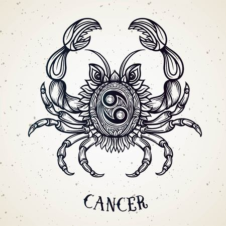 Beautiful line art filigree symbol. Black sign on vintage background.Elegant jewelry tattoo.Engraved horoscope symbol.Doodle mystic drawing with calligraphy lettering.Cancer