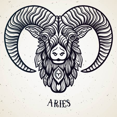 Beautiful line art filigree symbol. Black sign on vintage background.Elegant jewelry tattoo.Engraved horoscope symbol.Doodle mystic drawing with calligraphy lettering.Aries Иллюстрация