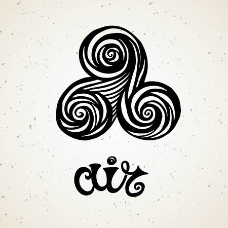 Beautiful line art filigree symbol of element. Black sign on vintage background.Elegant jewelry tattoo.Engraved horoscope symbol.Doodle mystic drawing with calligraphy lettering.Air