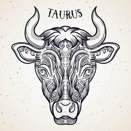 Beautiful line art filigree zodiac . Black sign on vintage background.Elegant jewelry tattoo.Engraved horoscope symbol.Doodle mystic drawing with calligraphy lettering.Taurus Иллюстрация