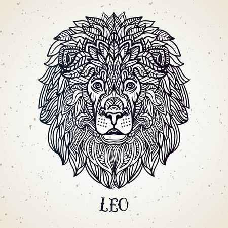 Beautiful line art filigree symbol. Black sign on vintage background.Elegant jewelry tattoo.Engraved horoscope symbol.Doodle mystic drawing with calligraphy lettering.Leo