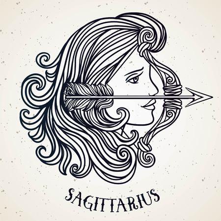 Beautiful line art filigree zodiac symbol. Black sign on vintage background.Elegant jewelry tattoo.Engraved horoscope symbol.Doodle mystic drawing with calligraphy lettering.Saggitarius