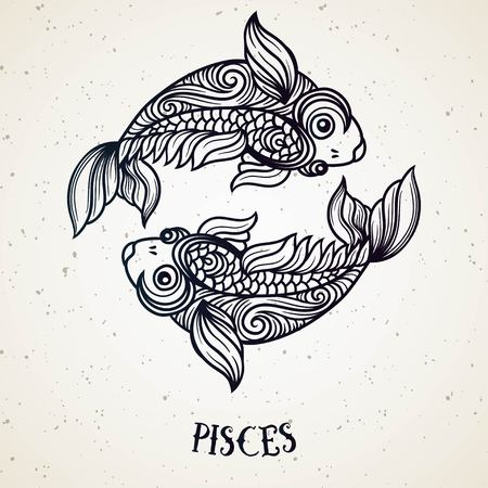 Beautiful line art filigree zodiac symbol. Black sign on vintage background.Elegant jewelry tattoo.Engraved horoscope symbol.Doodle mystic drawing with calligraphy lettering.Pisces