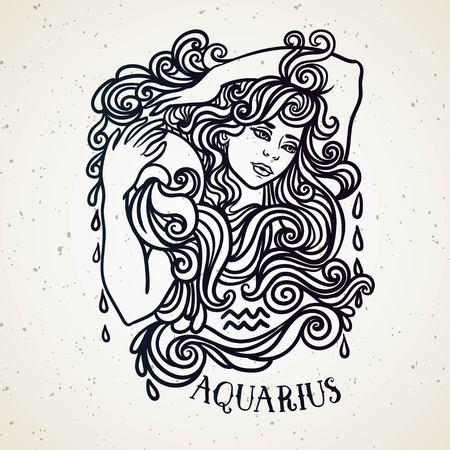 Beautiful line art filigree zodiac symbol. Black sign on vintage background.Elegant jewelry tattoo.Engraved horoscope symbol.Aquarius