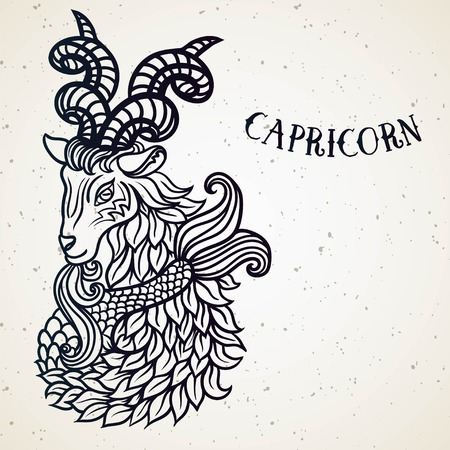 Beautiful line art filigree zodiac symbol. Black sign on vintage background.Elegant jewelry tattoo. horoscope symbol.Doodle mystic drawing with calligraphy lettering.Capricorn