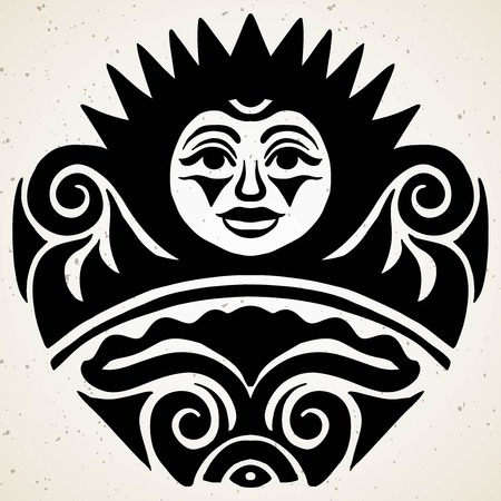 Tribal tattoo with the sun. Authentic artwork with a symbol of the totem. Stock Vector Graphics clipart Tattoos like Maui 向量圖像