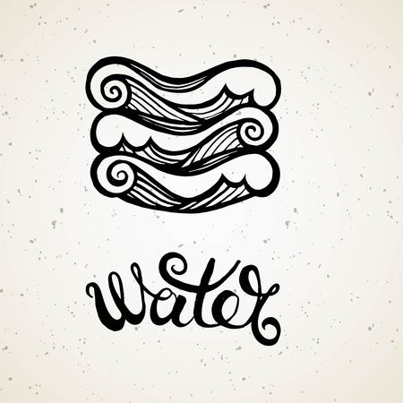 Beautiful line art filigree symbol of element. Black sign on vintage background.Elegant jewelry tattoo.Engraved horoscope symbol.Doodle mystic drawing with calligraphy lettering.Water