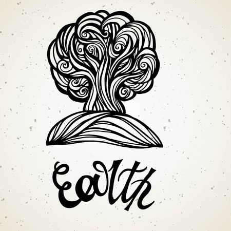 Beautiful line art filigree zodiac of element. Black sign on vintage background.Elegant jewelry tattoo.Engraved horoscope symbol.Doodle mystic drawing with calligraphy lettering.Earth Иллюстрация