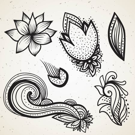 Handsketched set of beautiful mehndi design elements. Henna temporary flash tattoo. Traditional ethnic indian style tribal ornaments. Adult color book creative paisley doodles vector collection. Vectores