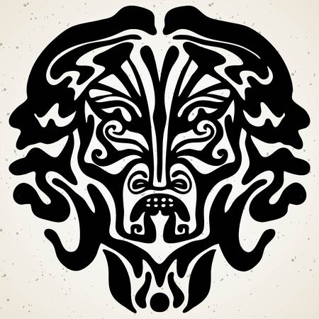Tribal tattoo with the god mask. Authentic artwork with a symbol of the totem. Stock Vector Graphics clipart Tattoos like Maui