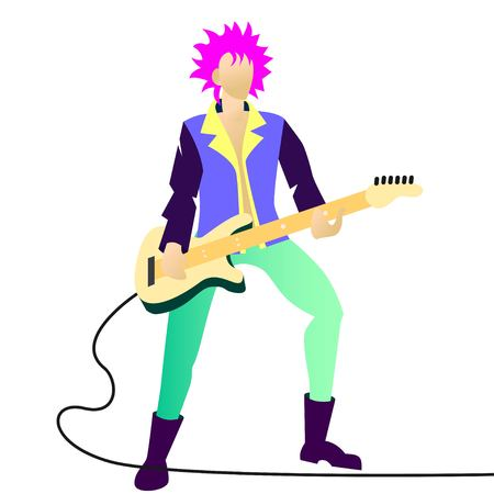 young beautiful girl sings a song into the microphone. isolated vector illustration.