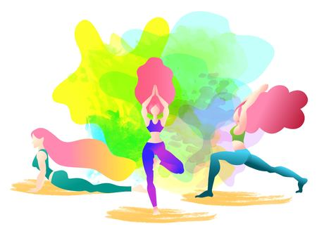 A woman started in yoga with a cobra pose. Bhujangasana. Colorful vector illustration Flat character design. Indigo fashion colors.Colorful watercolor background. Ilustração