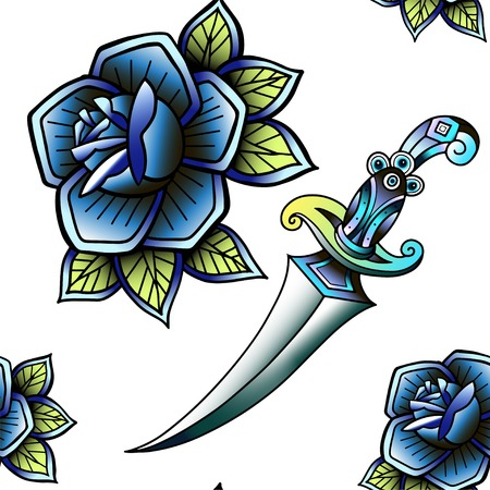 Old school retro vintage doodle tattoo seamless pattern.Rose,knife.continuous openwork emblems symbols.Vector line art oldschool tattoo illustration. Best for printing wrapping paper
