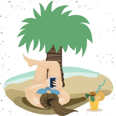 Uses a smartphone. Girl relaxing at the seaside resort. Flat Character Vector Illustration
