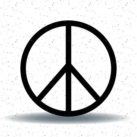 Peace, friendship, pacifism, hippie black symbol icon vector isolated on white background.