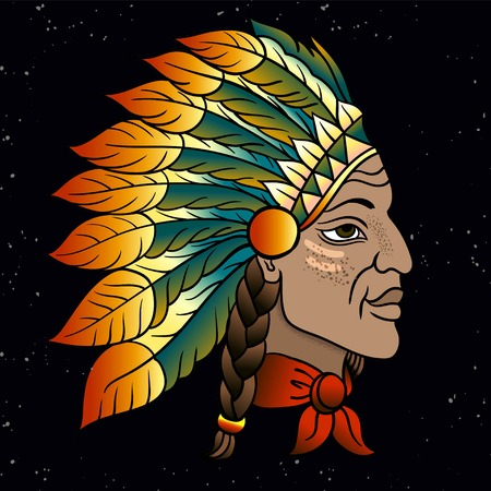 Man in the Native American Indian chief. Black roach. Indian feather headdress of eagle. Hand draw line art vector illustration