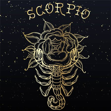 Beautiful line art filigree zodiac symbol. Black sign on vintage background. Vector clipart. Elegant jewelry tattoo. Scorpio