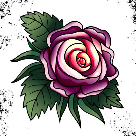 Tattoo Rose Pion flower.Tattoo, mystic symbol. Boho print.Vector illustration art. Vintage engraving. Vintage style. Traditional art tattoos. Blackwork. Isolated vector
