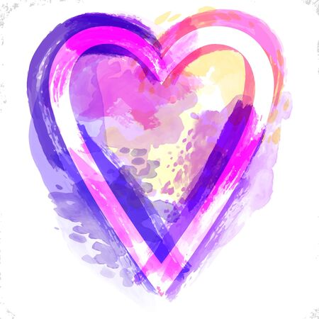Vector watercolor heart background. Valentines day, Colorful abstract texture frame. Vintage colorful pink violet heart.Watercolor splashes isolated Çizim