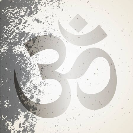 Om Aum - symbol of Hinduism icon with vintage background. Buddhism yoga tattoo line art poster
