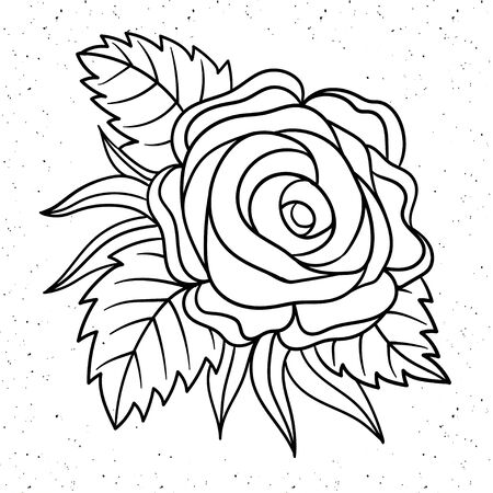 Tattoo Rose Pion flower.Tattoo, mystic symbol. Boho print.Vector illustration art. Vintage engraving. Vintage style. Traditional art tattoos. Vintage old school tattoo. Isolated vector Çizim