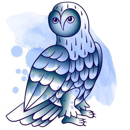 Owl. Tattoo, poster print. Watercolor splashes hand drawn tattoo lne art
