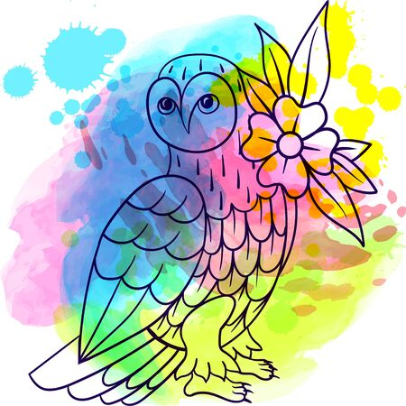 Owl. Tattoo, poster print. Watercolor splashes watercolor hand drawn tattoo lne art